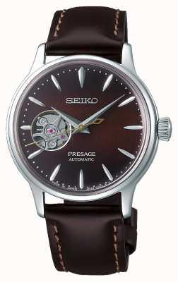 Seiko   presage senhoras mecânicas   couro de bezerro marrom   mostrador marrom SSA783J1