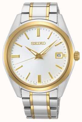 Seiko | quartzo conceitual para homem | pulseira de dois tons | mostrador prateado SUR312P1