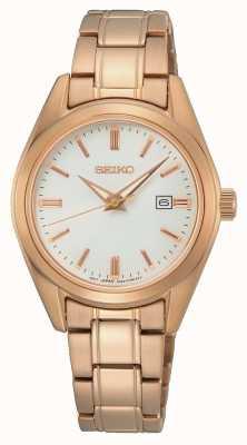 Seiko Quartzo feminino conceitual | pulseira de aço ouro rosa SUR630P1