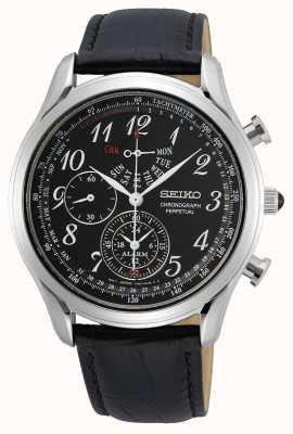 Seiko Quartzo masculino conceitual   pulseira de couro preta   mostrador preto SPC255P1