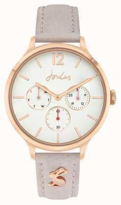 Joules Mulheres | pulseira de couro rosa | mostrador branco | JSL001ERG