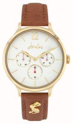 Joules Mulheres | pulseira de couro marrom | mostrador branco JSL001T