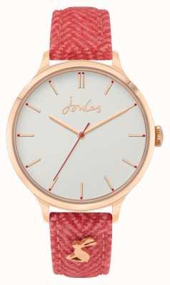 Joules Mulheres | tecido vermelho / pulseira de couro | mostrador branco JSL014CRG