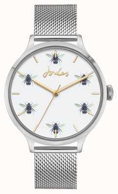 Joules Mulheres | malha de aço inoxidável | mostrador de abelha branca JSL030SM