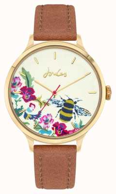 Joules Mulheres | pulseira de couro marrom | mostrador de abelha floral JSL030TG
