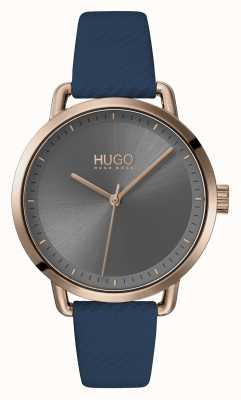 HUGO #mellow | pulseira de couro azul | mostrador cinza | 1540054
