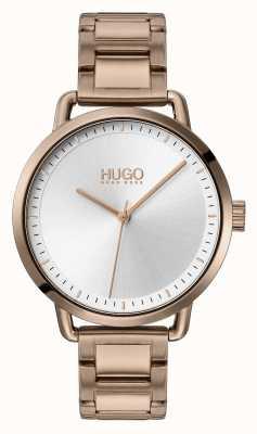 HUGO #mellow | pulseira em aço banhado a ouro bege | mostrador prateado | 1540056