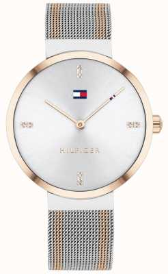 Tommy Hilfiger Liberdade | pulseira de malha bicolor | mostrador branco | 1782221