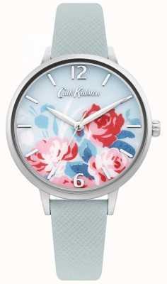 Cath Kidston Bracelete de couro azul claro para mulher | mostrador floral CKL097US