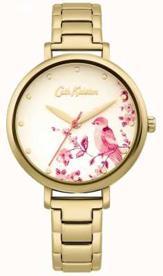 Cath Kidston Pulseira de aço inoxidável de ouro | mostrador de pássaro floral CKL099GM