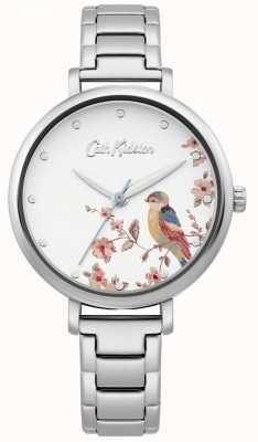 Cath Kidston Pulseira de aço inoxidável das mulheres | mostrador de pássaro de prata CKL099SM
