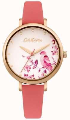 Cath Kidston Pulseira de couro rosa feminina | mostrador de pássaro de prata floral CKL099PRG