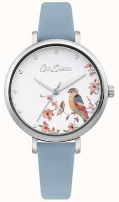 Cath Kidston Pulseira de couro azul pálido | mostrador de pássaro de prata floral CKL099US