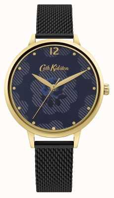 Cath Kidston Pulseira de malha preta | mostrador floral azul CKL095GBM
