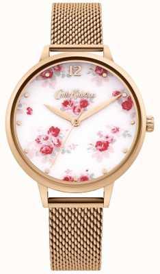 Cath Kidston | pulseira de malha em ouro rosa para mulher | mostrador branco floral CKL095RGM
