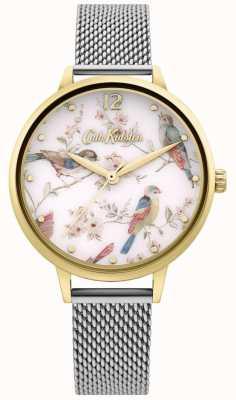 Cath Kidston | dial floral da cópia do pássaro das mulheres | pulseira de malha de prata CKL095GSM