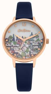 Cath Kidston | pulseira de couro azul marinho para mulher | mostrador de champanhe impresso | CKL083URG