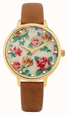 Cath Kidston | bracelete de couro castanho para mulher | mostrador floral multicolorido | CKL083TG