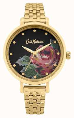 Cath Kidston | oxford para senhora | pulseira de aço banhado a ouro | mostrador floral CKL087GM