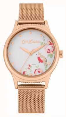 Cath Kidston Pulseira de malha de ouro rosa | mostrador branco com estampa floral | CKL091RGM