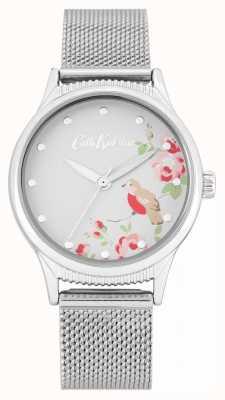 Cath Kidston Pulseira de malha de prata | mostrador branco com estampa floral CKL091SM