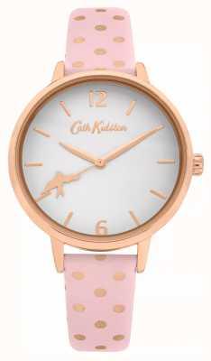 Cath Kidston Bracelete de couro rosa de bolinhas | mostrador branco | CKL088P