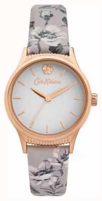 Cath Kidston Bracelete de couro com estampa floral cinza feminina | mostrador cinza CKL090E