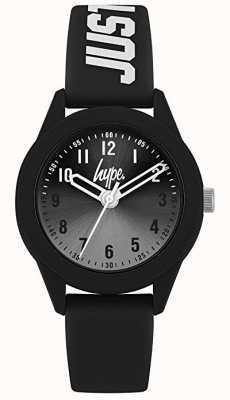 Hype | pulseira de silicone preta | mostrador cinza | HYK003B