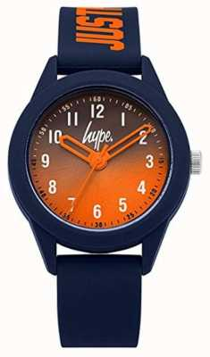 Hype | pulseira de silicone azul marinho | mostrador laranja | HYK003U