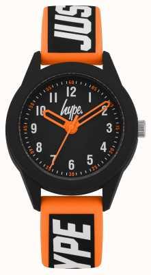 Hype | pulseira de silicone laranja / preto | mostrador preto | HYK004OB