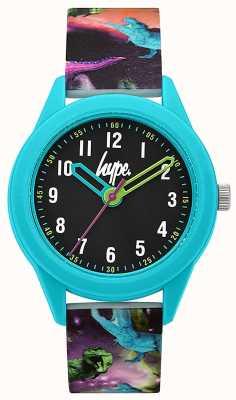 Hype | pulseira de silicone com impressão de dinossauro | mostrador preto | HYK008BU