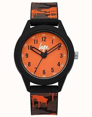 Hype | pulseira de silicone camo cinza / laranja | mostrador laranja | HYK009NO