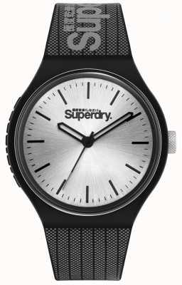 Superdry Mostrador solar prateado | pulseira de silicone impressa em preto e cinza | SYG293B