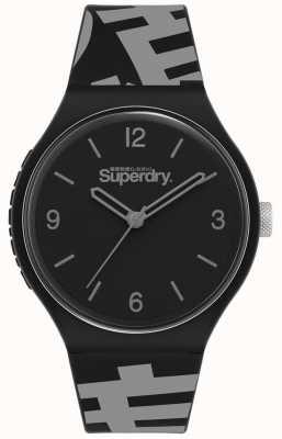 Superdry Mostrador preto fosco | pulseira de silicone preto / cinza | SYG294BE
