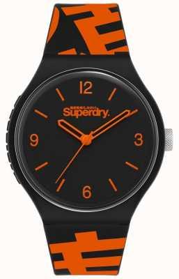 Superdry Pulseira de silicone preto / laranja | mostrador preto fosco | SYG294BO