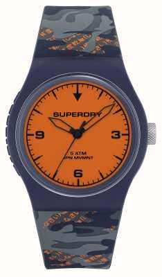 Superdry Mostrador laranja | pulseira de silicone azul marinho / laranja | SYG296UO