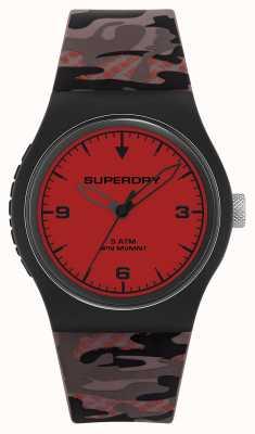 Superdry Unissex | mostrador vermelho | pulseira de borracha de camuflagem SYG296BR