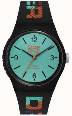 Superdry Marcador azul esverdeado | pulseira de silicone preta | SYG301BAU