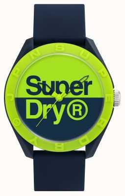 Superdry Pulseira de silicone marinha | mostrador azul / verde SYG303UN