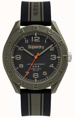 Superdry | osaka | pulseira de borracha preta / cáqui | mostrador preto | SYG305NB