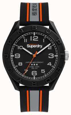 Superdry Mostrador preto fosco | pulseira preta / cinza / laranja | SYG305EB