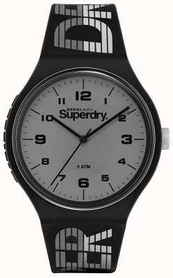 Superdry | corridas urbanas xl | pulseira de silicone preta | mostrador cinza | SYG269BE