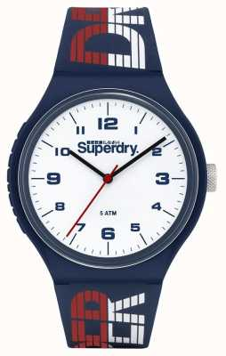 Superdry Pulseira de silicone azul / branco / vermelho | mostrador branco | SYG269UW