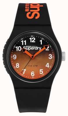 Superdry | pulseira de silicone preta | mostrador bicolor preto / laranja | SYG198BO
