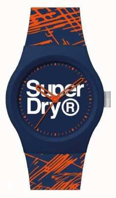 Superdry Bracelete em silicone azul marinho / laranja | mostrador azul marinho / laranja / branco | SYG292OU