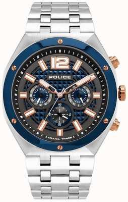 Police | quediri | pulseira de aço inoxidável | mostrador de metal azul / arma | 15995JSTBL/61M