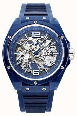 Police | translúcido | pulseira de plástico azul | mostrador esqueleto | 15924JPBL/48P