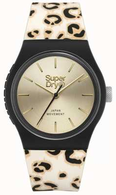 Superdry | urbano | pulseira de silicone com estampa de leopardo para mulher | mostrador de ouro | SYL299GB