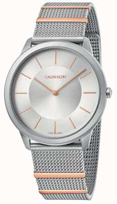 Calvin Klein | mínimo | pulseira de malha de aço | mostrador prateado | K3M511Y6