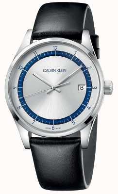 Calvin Klein | conclusão pulseira de couro preto | mostrador prateado / azul | KAM211C6